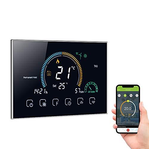 Decdeal Termostato WiFi per Riscaldamento dell'Acqua - Programmabile/Controllo App Vocale/LCD Retroilluminato Visualizzazione dell'umidità e UV,Compatibile con Alexa Google Home,95-240V,GA