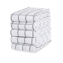 Eono Paños de Cocina de Rizo de algodón - 100% Muy absorbentes - Ideales para secar Cristales en restaurantes, Bares y cocinas - 40 x 64 cm - Juego de 5 - Gris Capuchino