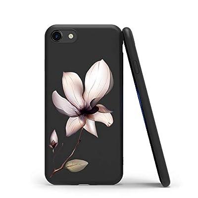Yoedge Funda para iPhone 7/8 / 9 / SE (2020), Ultra Slim Cárcasa Silicona Negro con Dibujos Animados Diseño Patrón Bumper Case Cover Fundas Movil para Apple iPhone 7 Smartphone, Lotus Negro