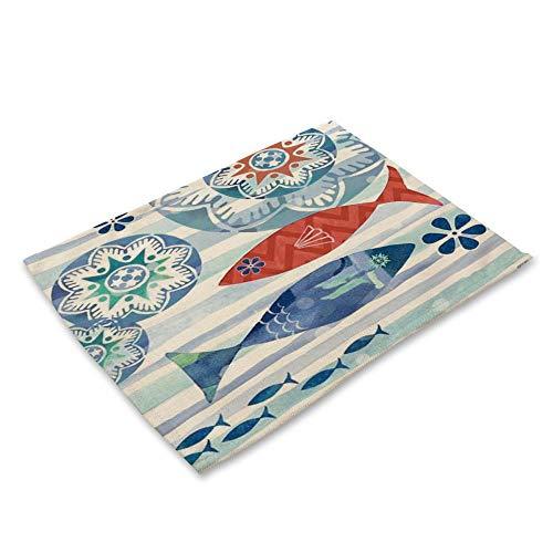 Tee Untersetzer Pad 2 Stück Baumwolle Und Leinen Marine Animal Pattern Tischset Starfish Shark Crab Octopus Print Getränk Bier Matte Bar Dekoration Blue Tableware Marine 12