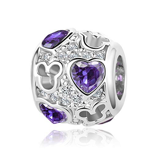 SBI Jewelry Mouse Heart Charm for Bracelet June Birthstone Charm Purple Crystal Bead Gift for Sister Daughter Wife