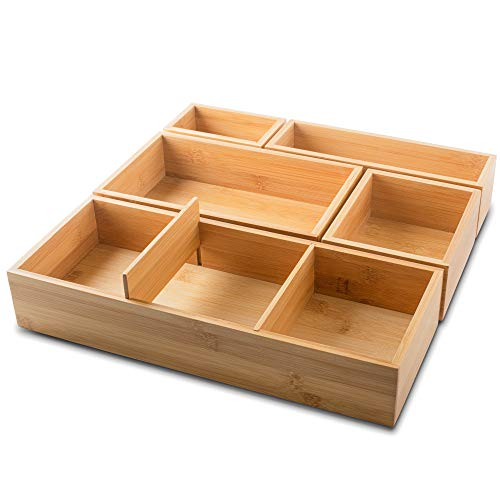 itena® Schubladen Organizer aus Bambus I herausnehmbare Trennwände I 5-teiliger Schreibtisch-Organizer I innovatives Schubladen-Ordnungssystem für Büro, Küche und Bad I 37,5 x 37,5 x 6,35cm LxBxH