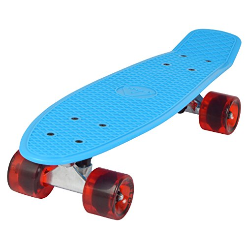Apollo Fancy Skateboard, Vintage Mini Cruiser, Komplettboard, 22.5inch (57,15 cm), Mini-Board mit Holz oder Kunstsoff Deck mit und ohne LED Wheels, Farbe: Blau/Bottle Red