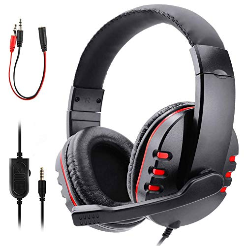 Zeion Gaming Headset Headphone with Microphone for PS4, PS5, Nintendo Switch, Playstation 4, Playstation 5, Playstation Vita, Mac, Laptop, Tablet, Computer, Mobile Phones (3.5mm Plug Red)
