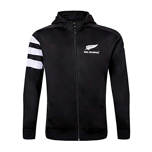 AFDLT Hombre Invierno Rugby Jersey,2019 All Black Rugby Jacket,Casual Redondo CháNdales,Respirable Camiseta de fútbol,Black,XXXL