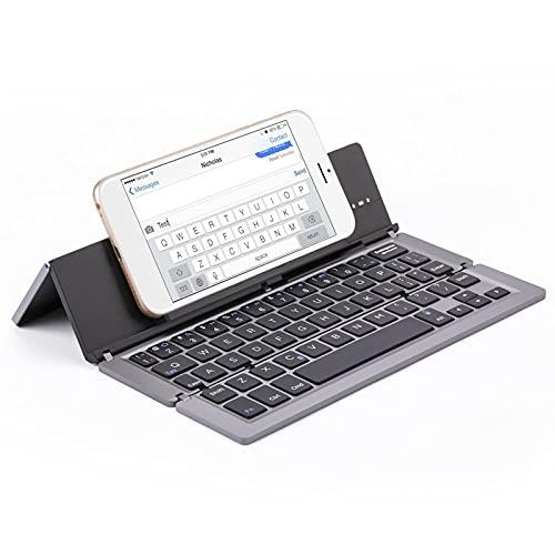 FFZQ Teclado Plegable portátil de Aluminio, Teclado Bluetooth, Escritorio Compatible, Compatible con escritorios, Accesorios de Entretenimiento de Oficina,D