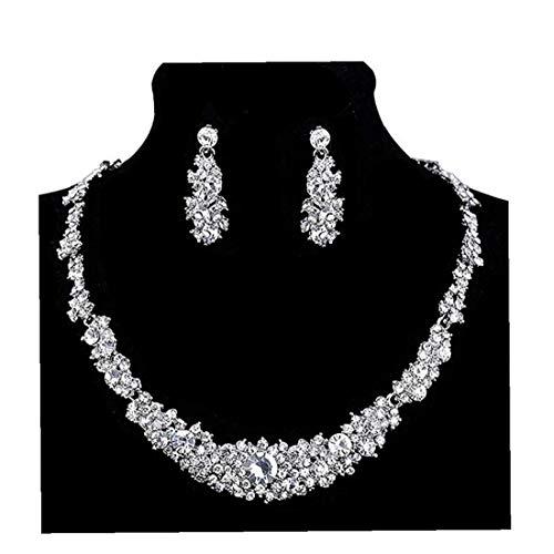 ZYCX123 Pendientes del Collar de Novia de la Boda Preciosa Prom Rhinestone de la joyería cristalina de la Mujer