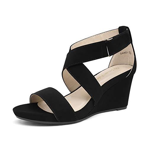 DREAM PAIRS Women s Sandi Ankle Strap Open Toe Wedges Sandal,Black, Size 8