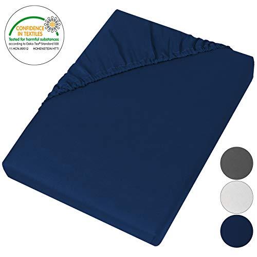 BB Sport Mikrofaser Spannbettlaken 90 x 200 cm Spannbettuch für Matratzen bis ca. 25 cm Höhe Bettlaken, Farbe:Royalblau Uni