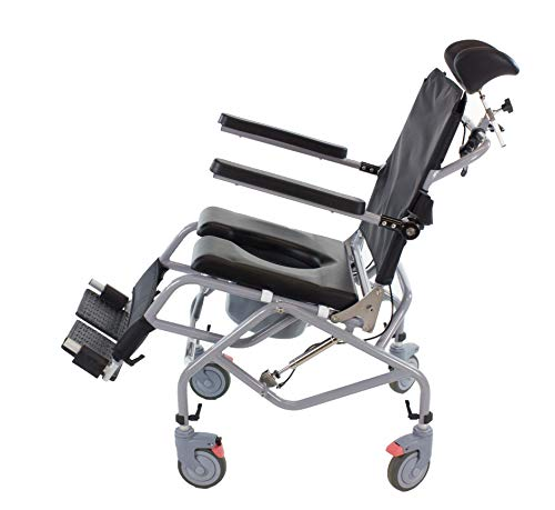 Professional Tilt-in-Space Reclining Shower/Commode Chair. Padded. Flip-up Arm and Foot Rests. Includes Locking Casters, Commode Pail and Adjustable Headrest. Total-Care 3-in-1 Multifunction Chair.