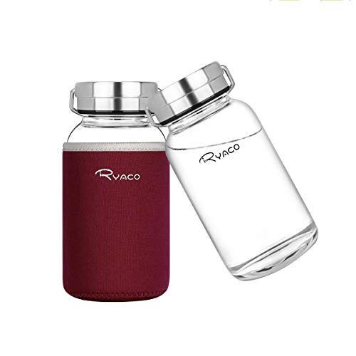 Ryaco Botella de Agua Cristal 800 ML, Boca Ancha Botella de Agua Reutilizable, Sin BPA Antideslizante Protección Neopreno Llevar Manga y Cepillo de Esponja (800ml, Rojo Vino)