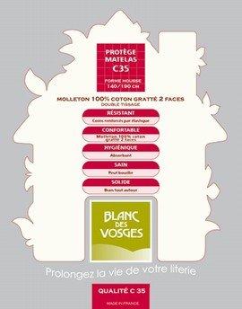 Blanc des Vosges Molleton 350gr/m² Alèze Housse avec 4 Têtes, Coton, Blanc, 160x200 cm