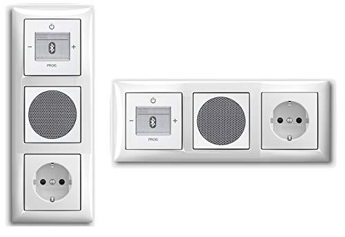 Busch Jäger Unterputz UP Bluetooth Radio 8217 U (8217U) Komplett-Set Balance SI alpinweiß + Lautsprecher + 20EUC-914 Steckdose + Radioeinheit in 3 fach Rahmen integriert