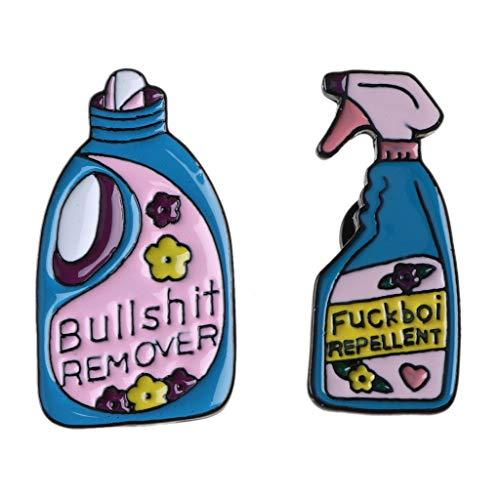 Anstecknadeln, Motiv: Bullshit zum Entfernen von Cartoon-Waschmittel, Emaille, Brosche, Dekoration, Schmuck, Pullover, Mantel, 2 Stück