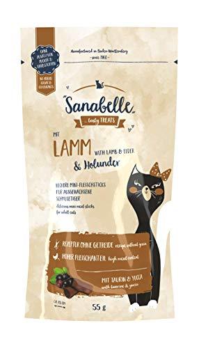 Sanabelle Snack Lamm und Holunder | Leckere Mini-Fleischsticks für ausgewachsene Katzen | 20 x 55 g