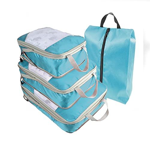 MisFox Juego de 4 cubos de compresión para maletas, bolsas de viaje, organizador de equipaje, organizador de equipaje impermeable para maleta y mochila, azul claro,