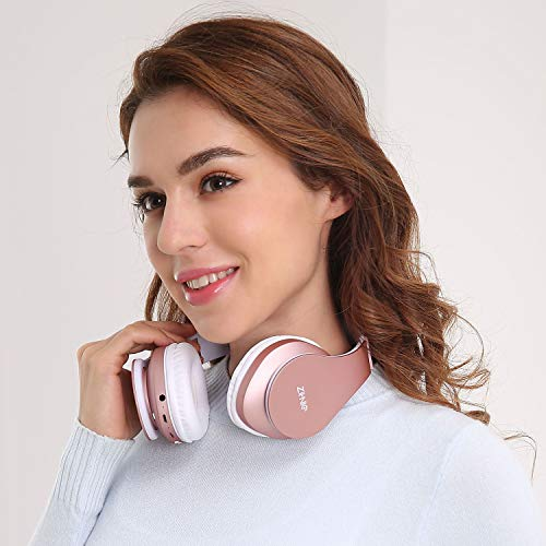 Bluetooth Over-Ear Headphones, Zihnic Foldable Wireless and Wired Stereo Headset Micro SD/TF, FM for Cell Phone,PC,Soft Earmuffs &Light Weight for Prolonged Waring (Rose Gold) 2