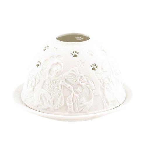 Porzellan-Teelicht-Windlicht, Starlight Nr.447, Hund mit Tatze (unterbrochen), Lithophanie weiß