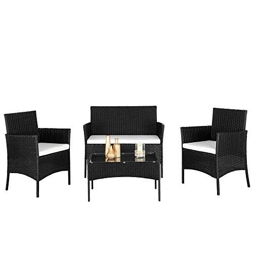 4 Piece Wicker Rattan Patio Sets Garden Furniture Sets, Garden Chairs and Table Indoor Outdoor Conversation Sets 1x Love Seat, 2 x Armchairs, 1xTempered Glass Top Table, Includes Cushions[UK STOCK]