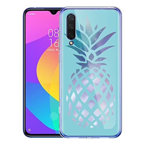Pnakqil Funda Xiaomi Mi A3 / CC9e Transparente Carcasa con Dibujos Silicona Case Cover Ultra Slim Suave Gel TPU Piel Antigolpes Protector Goma Fundas para Xiaomi A3 / CC9e, Piña Azul