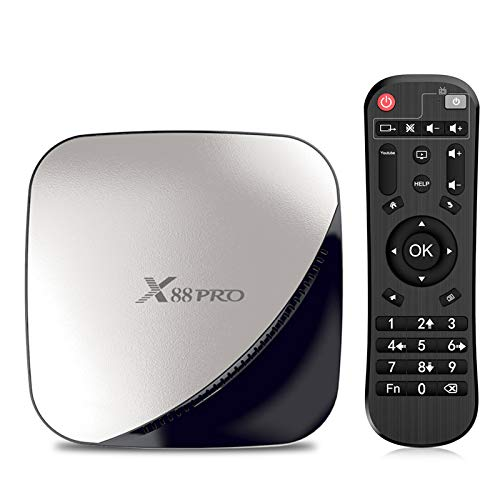 Sidiwen Android 9.0 TV Box X88 Pro Smart Box 4 Go de RAM 32 Go de ROM RK3318 Quad Core CPU 2.4G/5G Dual Band WiFi Ethernet USB 3.0 Support 4K H.265 Lecteur Vidéo