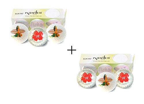 Lowest Price! Navika Hawaiian Golf Ball Set Hula Girl Surfing USA and Hibiscus Imprint (2 Pack) Comb...