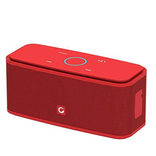 Altavoz Bluetooth Caja de Sonido Control táctil Altavoz Bluetooth Altavozinalámbrico portátil Estéreo Caja con Bajos y micrófono IncorporadoRojo