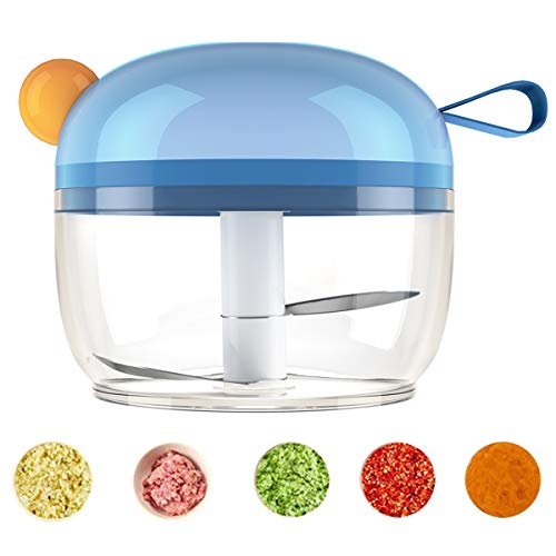 Jeekscss Manual Food Chopper,Hand Pull String Slicer for Fruits,Vegetables,Chilis,Carrots, 4 Kinds of Color for Garlic Mincer Onions Dicers Blender Food Processor (Blue)