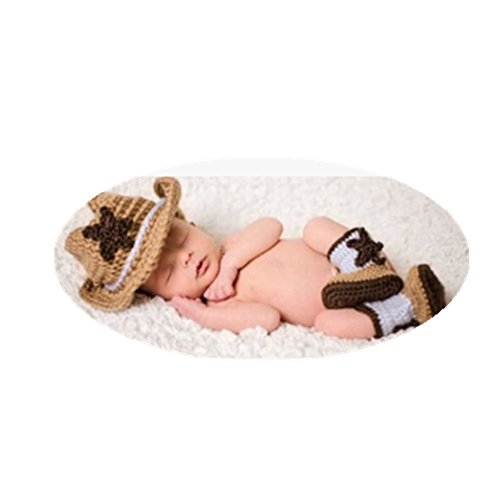 Newborn Baby Photo Props Outfits Cowboy Style Crochet Knitted Hat Boots Photography Props