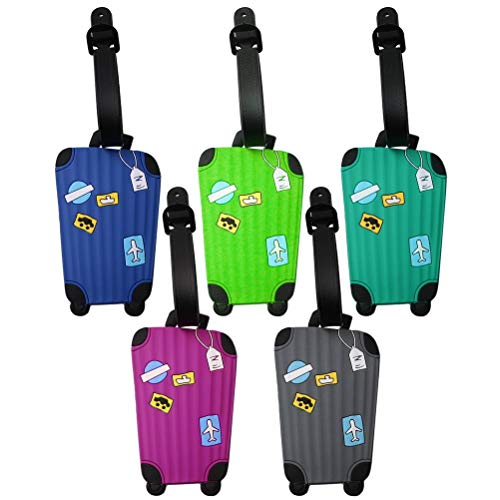 nuoshen 5 Pieces Silicone Luggage Tags, Suitcase Name ID Address Travel Bag Tags Name Card Holder for Baggage Bags