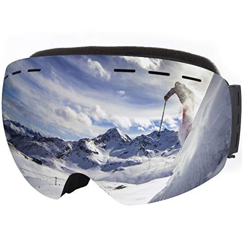 Tarent Skibrille mit Ultragroßes rahmenloses Design und 170° Neigung, Antibeschlag und UV-Schutz, Helmkompatibilität,Snowboard Brille, Skibrille Für Herren und Damen (Silber)