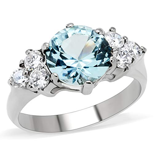 Women's Stainless Steel Aquamarine and Clear Cubic Zirconia Ring
