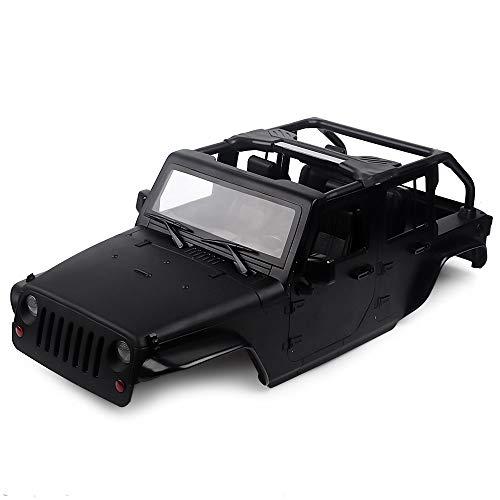 INJORA RC Carrozzeria Kit 313mm Interasse Corpo di Auto Jeep Wrangler Car Shell per 1/10 RC Crawler Axial SCX10 90046 (Nero)