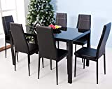Merax 7-Piece Glass Top Dining Set