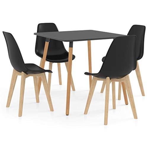 vidaXL Essgruppe 5-TLG. Esszimmergarnitur Esszimmergruppe Tischset Esstischset Sitzgruppe Küchentisch Esszimmertisch Esstisch mit 4 Stühlen Schwarz
