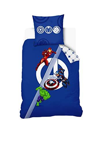 Disney Avengers - Juego de Funda nórdica de 140 x 200 cm y Funda de Almohada de 63 x 63 cm, 100% algodón, Color Azul