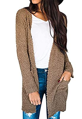 ZESICA Women's Casual Long Sleeve Open Front Soft Chunky Knit Sweater Cardigan Outerwear with Pockets,Mocha,Medium