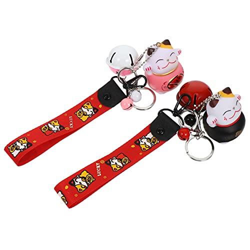 Abaodam 2 llaveros de gato de la suerte con campana japonesa Maneki Neko llavero de la fortuna gato colgante de mano anillo para teléfono móvil bolso bolso varios colores