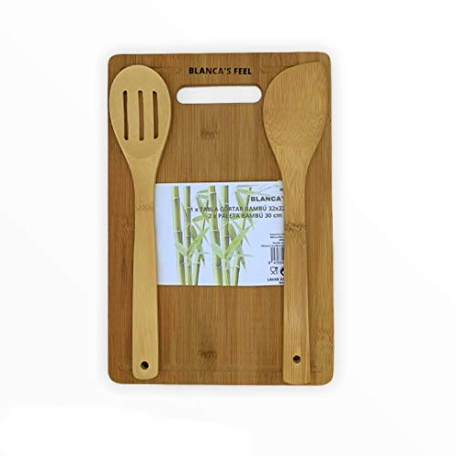 Blanca's Feel Kit 1 Tabla de Cortar Cocina bambú 32x22x1.4cm + 2 Paleta de Bambú 30x6 cm, para Cortar, trocear, Preparar y Servir Alimentos.