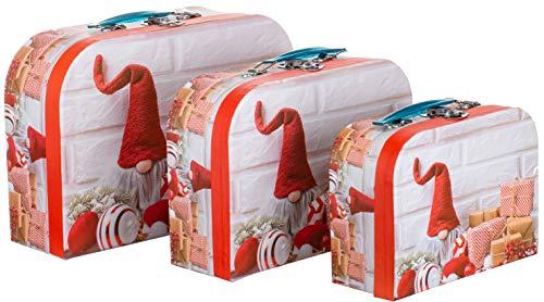 Brandsseller kaboutermotief geschenkdoos bewaardoos koffer met handvat - stevig karton - set van 3 in aflopende grootte