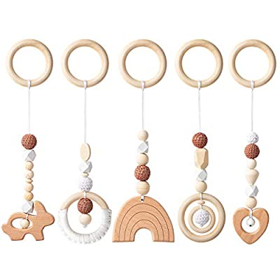 R HORSE 5 Baby Play Gym Toy Set Wooden Hanging Toy for Infant Play Gym Activity Wooden Nursing Pendant Gym Teether Rattles Toy Sensory Toys for Newborn Gift Birthday Shower Gifts