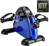 SMSOM Máquinas de Ejercicios del Pedal w/LCD, portátil Brazo de la Pierna del Mini Máquinas de Ejercicios de Fitness Ciclo Digital ejercitador Mini Bicicleta estacionaria (Azul)