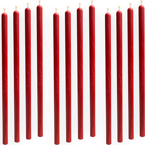 12 pcs 10,6' Red Taper Candles 100% Pure Beeswax Handmade - Natural Scent with Cotton Wick, Dripless, Smokeless, Non Toxic - for Dinner, Birthday Cake, Church, Hanukkah, Christmas