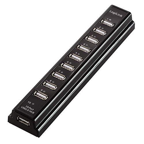 LogiLink 10-Port Hub USB 2.0 met voeding, zwart