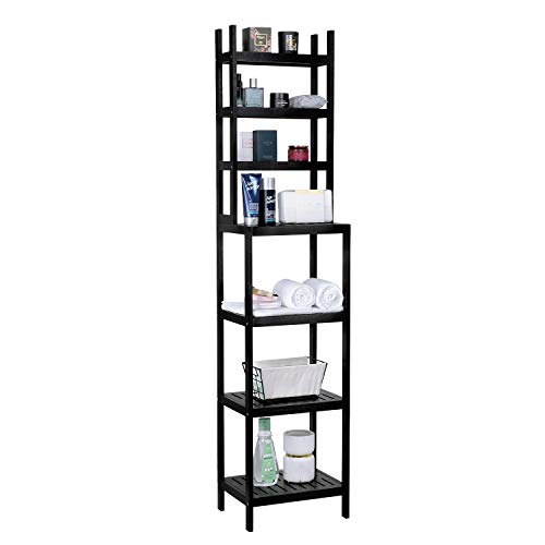 Greenvelly 100% Bamboo Bathroom Shelf, 7-Tier Multifunctional Storage Rack, Shelving Unit, Bathroom Towel Shelf for Kitchen, Livingroom, Bedroom, Hallway Black