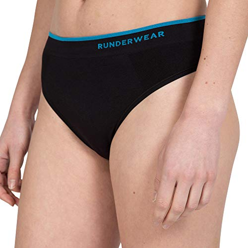 Runderwear Women's Thong - Chafe-Free Running Underwear (Black/Blue, Small (US 4-6))
