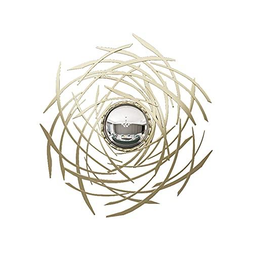 Peakfeng Decoración de la Pared de Metal Espejo de Hierro labrado Porche Sala de Estar Colgando, Dormitorio Gafas de Sol decoración Pared Colgando (Color : Gold)