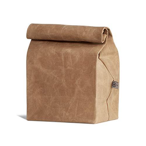 Bolsa de almuerzo Colony Co, Lona encerada, Duradera, Biodegradable, Marrón, para hombres, mujeres y niños