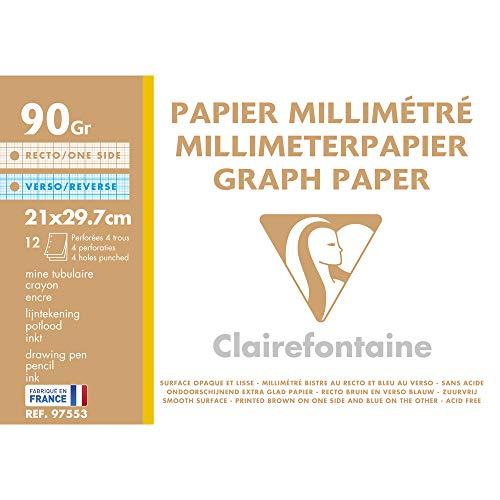 Clairefontaine 97553C Confezione Carta Millimetrata, 32.2 x 22.4 x 0.3 cm, Bianco