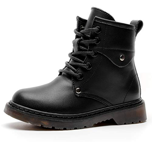 DADAWEN Boys Girls Classic Leather Waterproof Outdoor Side Zipper Lace-Up Winter Ankle Combat Boots Black US Size 3.5 M Big Kid